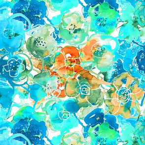 watercolor floral large orange aqua blue