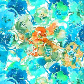 watercolor floral large orange aqua blue