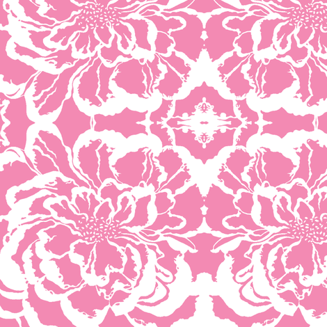 BAUER - Pink Peony on White fabric by scatteredseeds on Spoonflower - custom fabric