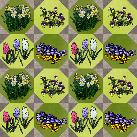 Tiled Flowers 2x2_octo_tile_greenplus_flowers fabric by khowardquilts on Spoonflower - custom fabric