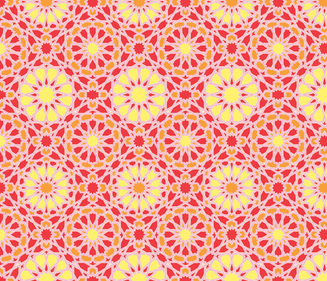 Geo Floral Red fabric by weebeastiecreations on Spoonflower - custom fabric