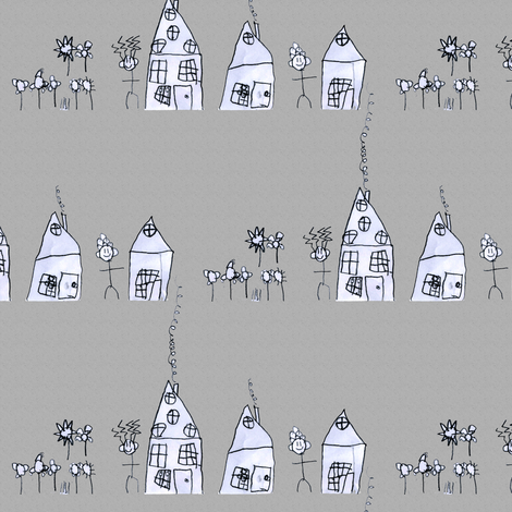 mac's village in grey fabric by weavingmajor on Spoonflower - custom fabric