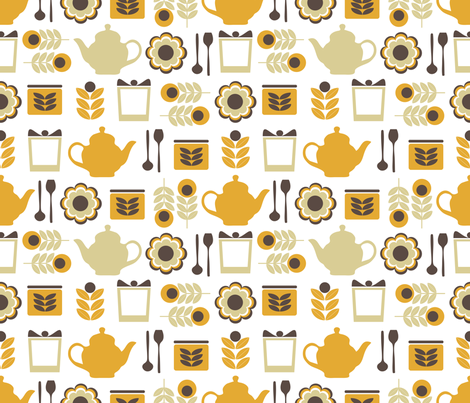 kitchen_bloom_retro fabric by lilliblomma on Spoonflower - custom fabric