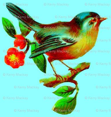 vintage bird blue