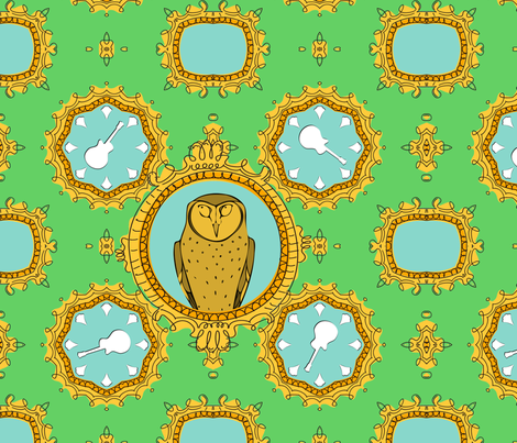 Owl and Guitar fabric by verystarry on Spoonflower - custom fabric