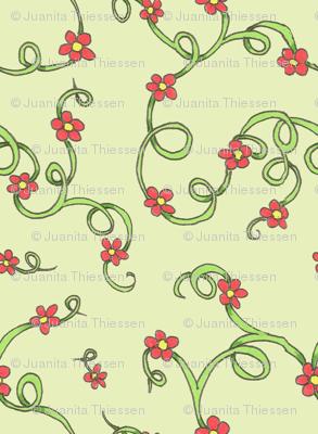 Scarlet flowers-green