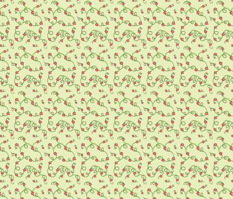 Scarlet flowers-green fabric by neetz on Spoonflower - custom fabric