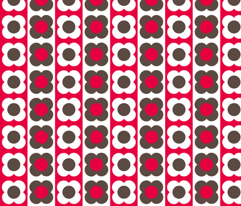 Retro Flower Red Brown fabric by shelleymade on Spoonflower - custom fabric