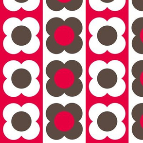 Retro Flower Red Brown