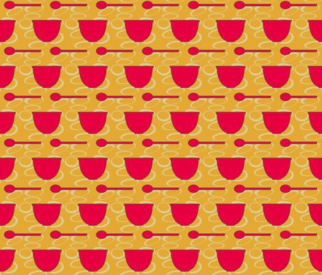 Retro Spoon and Bowl fabric by mammajamma on Spoonflower - custom fabric