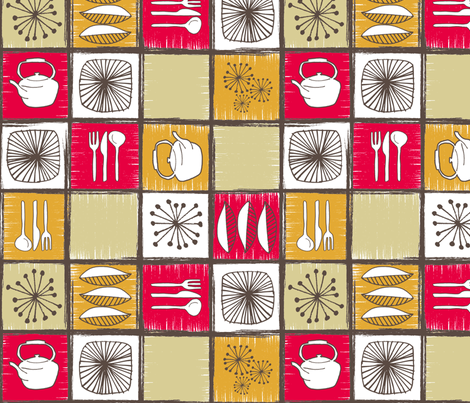Retro Cucina fabric by badpenny on Spoonflower - custom fabric