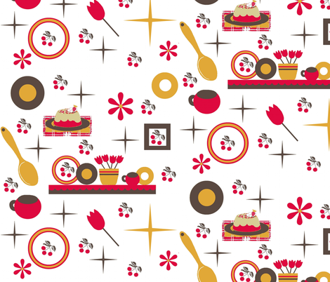cherry kitchen / white fabric by paragonstudios on Spoonflower - custom fabric