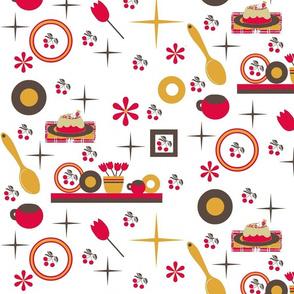 cherry kitchen / white