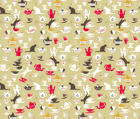 Tem & Jorry in the 50's kitchen fabric by happy_to_see on Spoonflower - custom fabric