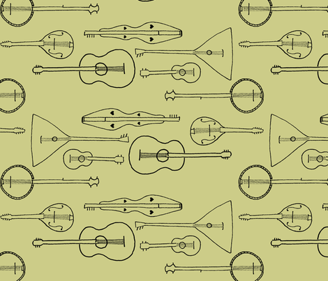 strummin__along_olive_green fabric by victorialasher on Spoonflower - custom fabric