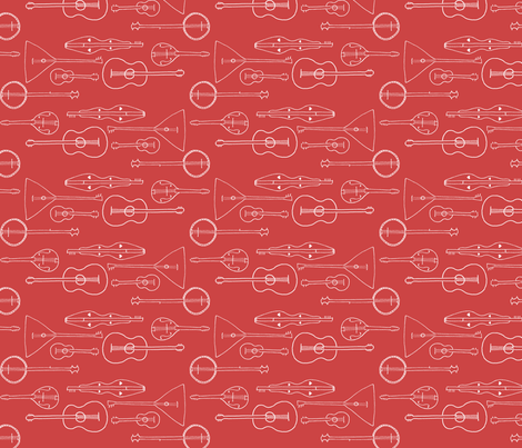 strummin__along_white_on_red fabric by victorialasher on Spoonflower - custom fabric