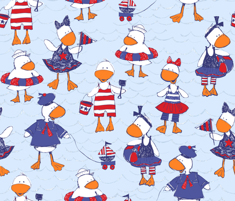 Ducky Good Time fabric by bzbdesigner on Spoonflower - custom fabric
