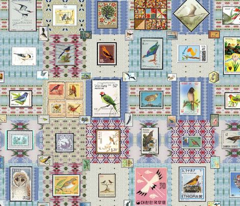 Stamp_Quilt_with_Birds fabric by ddmote on Spoonflower - custom fabric