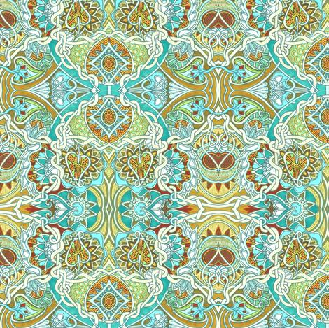 Tangled Aqua Love fabric by edsel2084 on Spoonflower - custom fabric