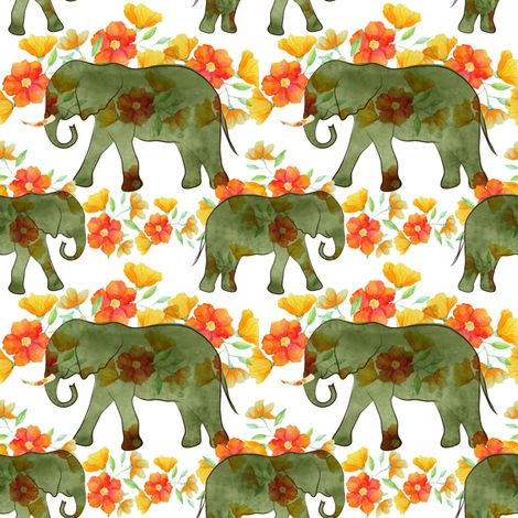 Watercolor elephants on parade fabric by vo_aka_virginiao on Spoonflower - custom fabric