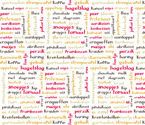 Retro Kitchen Dutch Food Words Fabric Greennote