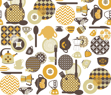 retro tea time fabric by katarina on Spoonflower - custom fabric