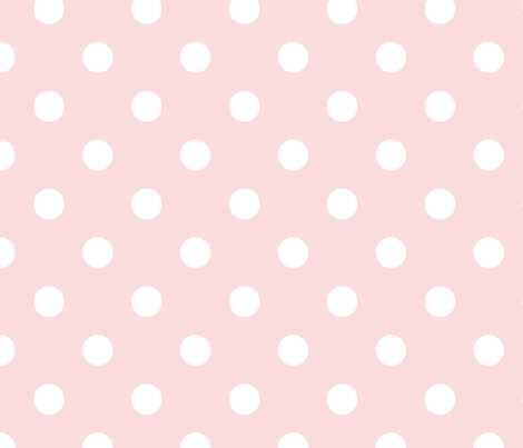 pois blanc fond rose pale fabric by nadja_petremand on Spoonflower - custom fabric