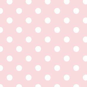 pois blanc fond rose pale