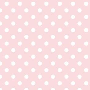 pois blanc fond rose pale S