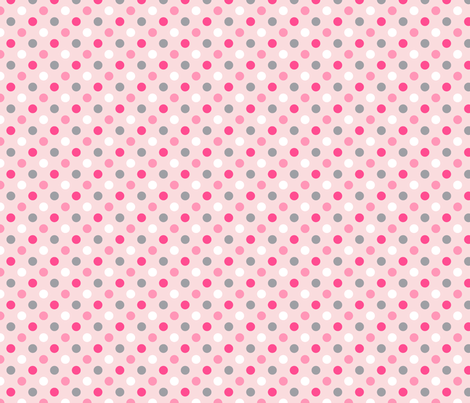 pois moyen multi blanc rose gris fond rose pale fabric by nadja_petremand on Spoonflower - custom fabric