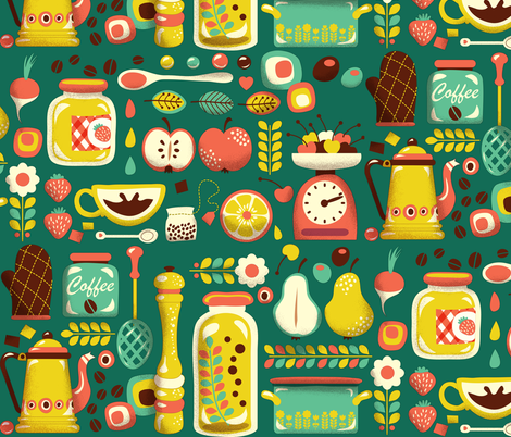 Mum's Kitchen | green fabric by irrimiri on Spoonflower - custom fabric