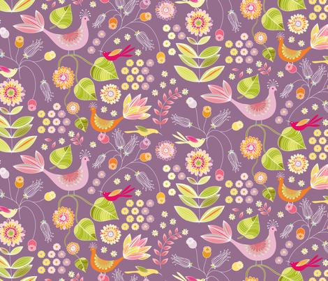 Pheasant Garden - eggplant fabric by kayajoy on Spoonflower - custom fabric