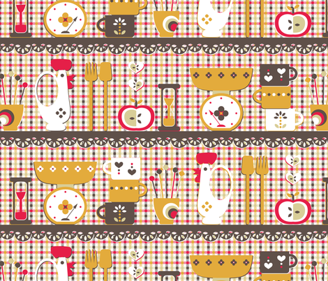 Gingham Kitchen fabric by annosch on Spoonflower - custom fabric