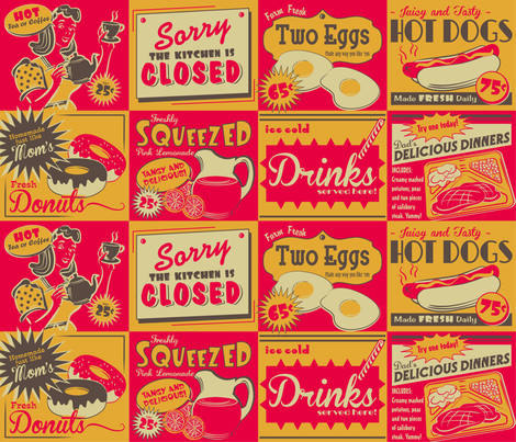 RETRO KITCHEN (Advertising) ~ Colour option no. 3 fabric by retrorudolphs on Spoonflower - custom fabric