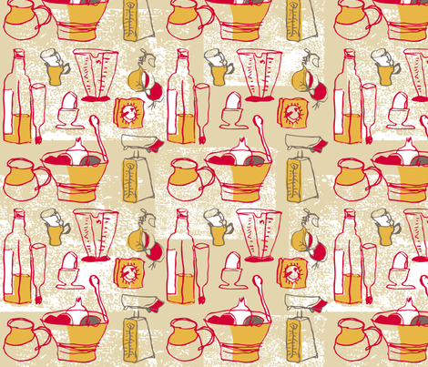 Wobbly Retro Kitchen fabric by evamarion on Spoonflower - custom fabric