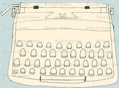 typewriter, cream on grey, line drawing