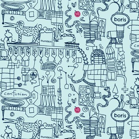 Satan's Phone Doodles fabric by boris_thumbkin on Spoonflower - custom fabric