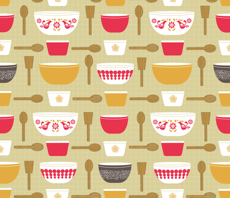 Pyrex and Wooden Spoons! fabric by jenmakesthings on Spoonflower - custom fabric