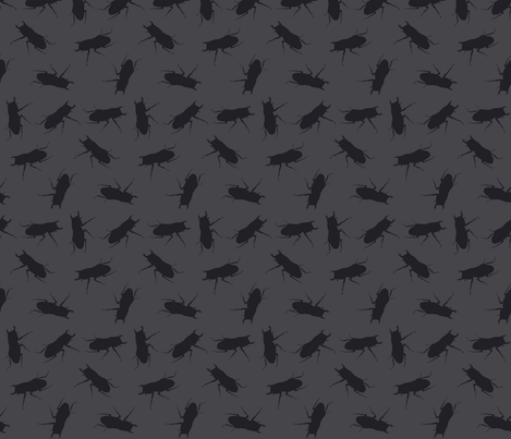stag-beetle bugs on solid grey fabric by katarina on Spoonflower - custom fabric