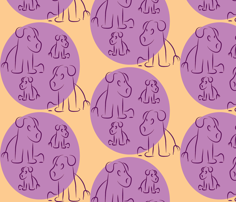 Grape-Coral Pups fabric by lesser_george on Spoonflower - custom fabric