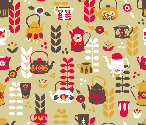 How about a cup of retro ? fabric by made_in_shina on Spoonflower - custom fabric