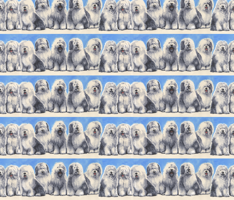 Old English Sheepdogs Border fabric by oesgirl on Spoonflower - custom fabric