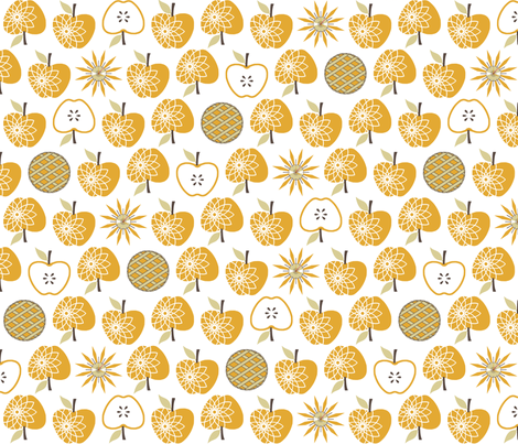 Always Time for Apple Pie - Gold fabric by inscribed_here on Spoonflower - custom fabric