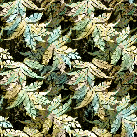 Retro Leaves Aqua 2012 fabric by joanmclemore on Spoonflower - custom fabric