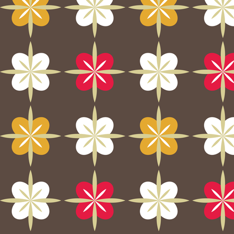 Retro Tea Party Poppy Brown - © Lucinda Wei fabric by lucindawei on Spoonflower - custom fabric