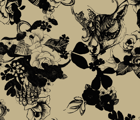 FOXY LOXY_Taupe fabric by pattern_state on Spoonflower - custom fabric