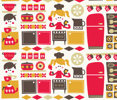 Retro kitchen fun! fabric by bora on Spoonflower - custom fabric