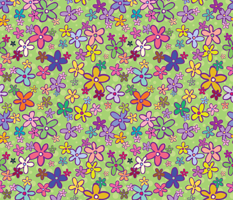 Flowers with PolkaDot background fabric by donnamarie on Spoonflower - custom fabric