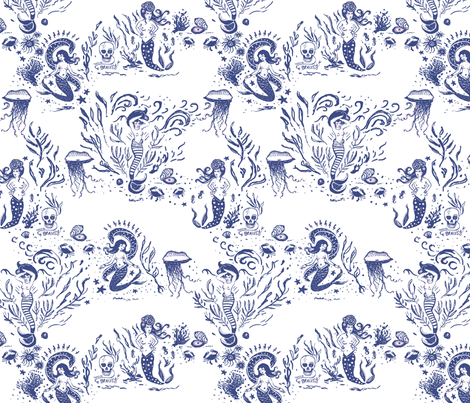 MerMaid Allure Toile in Navy/Pink fabric by ifneedb on Spoonflower - custom fabric