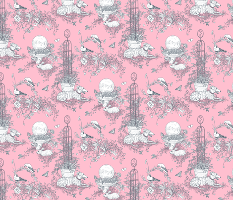 Pink and Gray Garden Toile Small ©2011 by Jane Walker fabric by artbyjanewalker on Spoonflower - custom fabric